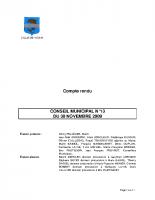 CONSEIL MUNICIPAL N° 13 DU 30 NOVEMBRE 2009