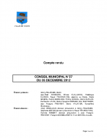 CONSEIL MUNICIPAL N° 27 DU 03 DECEMBRE 2012