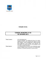 CONSEIL MUNICIPAL N° 28 DU 29 MARS 2013