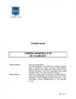 CONSEIL MUNICIPAL N° 29 DU 19 JUIN 2013