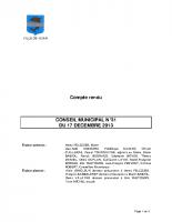 CONSEIL MUNICIPAL N° 31 DU 17 DECEMBRE 2013