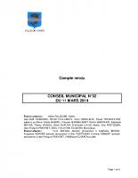 CONSEIL MUNICIPAL N° 32 DU 11 MARS 2014