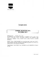 CONSEIL MUNICIPAL N° 4 DU 28 MAI 2014