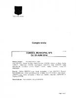 CONSEIL MUNICIPAL N° 5 DU 20 JUIN 2014