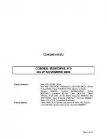 CONSEIL MUNICIPAL N° 6 DU 27 NOVEMBRE 2008
