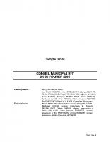 CONSEIL MUNICIPAL N° 7 DU 06 FEVRIER 2009