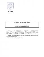 CONSEIL MUNICIPAL N° 8 DU 27 NOVEMBRE 2014